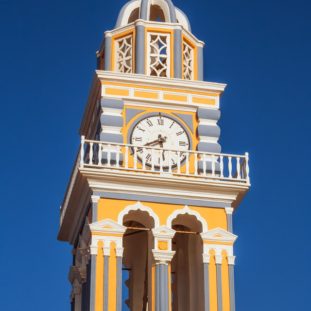 """""""Bell tower details of The Catholic Cathedral in Fira, Santorini"""" stock image"""