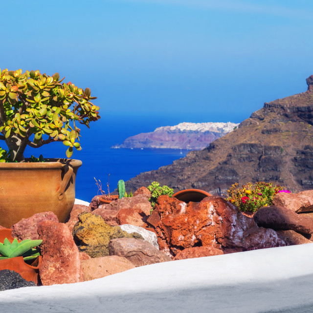 """""""Architecture details from Fira village, Santorini, Greece"""" stock image"""
