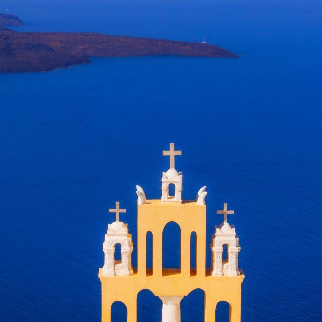 """Details of Imerovigli village architecture overlooking the Santorini caldera, Greece"" stock image"