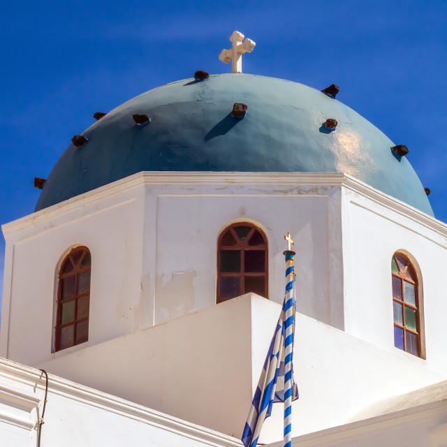 """Anastasi church in Imerovigli village, Santorini, Greece"" stock image"
