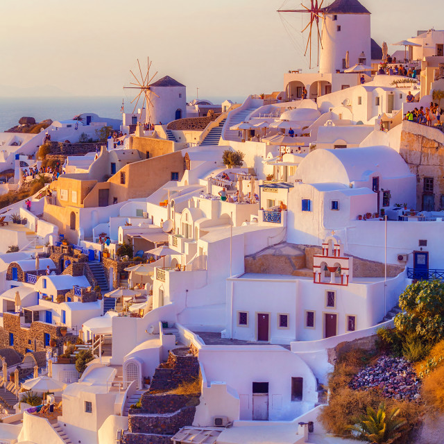 """Oia village at sunset, Santorini island, Greece"" stock image"