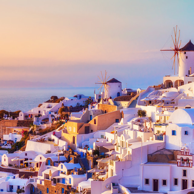 """Oia village at sunset, Santorini island, Greece"" stock image"