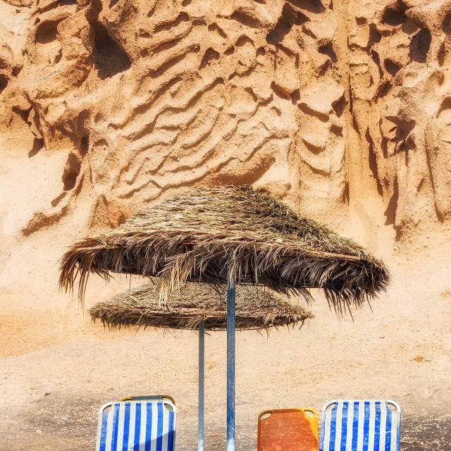 """Vlychada beach at sunset, Santorini island, Greece"" stock image"