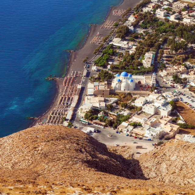 """""""Perissa village, Santorini, as seen from the Ancient Thera ruins"""" stock image"""