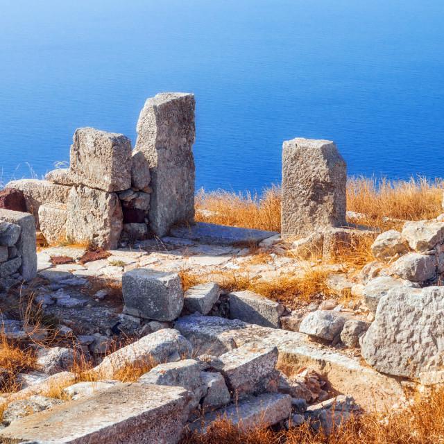 """The ruins of Ancient Thera, Santorini, Greece"" stock image"
