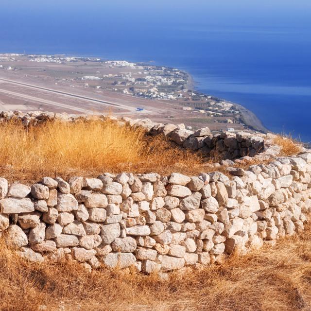 """Ancient Thera ruins overlooking Santorini airport"" stock image"