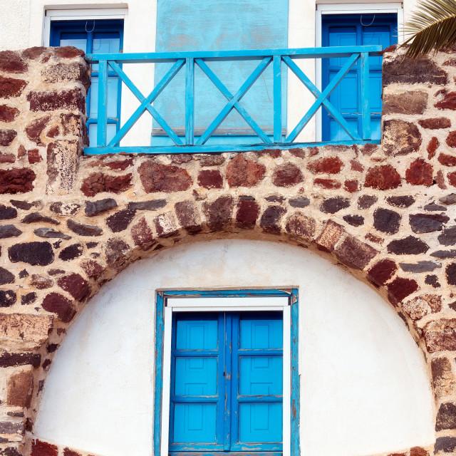 """Architecture details in Exo Gonia village, Santorini, Greece"" stock image"