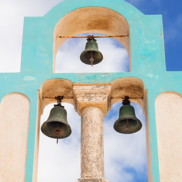 """""""Belfry details of a church in Exo Gonia village, Santorini, Greece"""" stock image"""