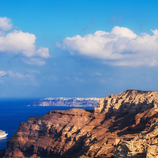 """Early morning view of the Santorini caldera"" stock image"
