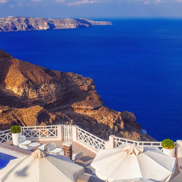 """Luxurious villa with a view of the caldera, Santorini island, Greece"" stock image"