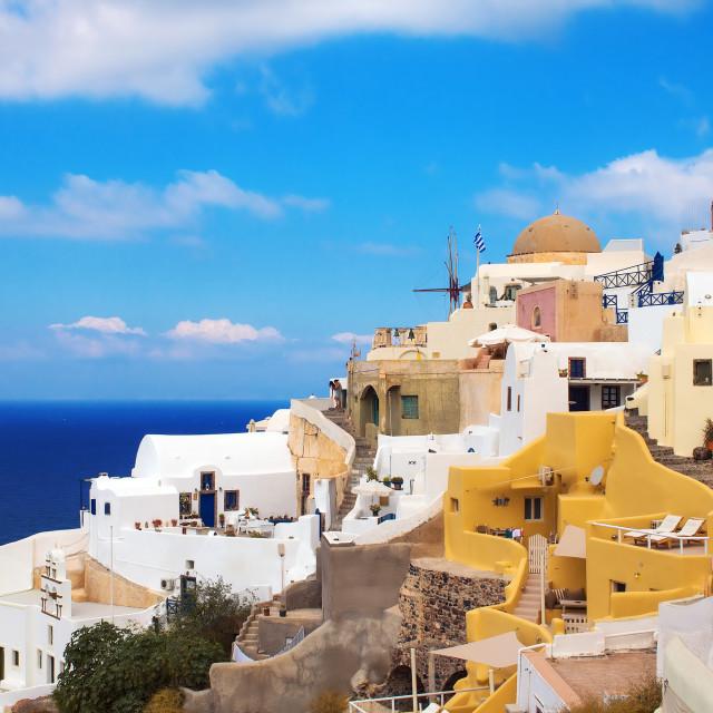 """Oia village architecture, Santorini island, Greece"" stock image"