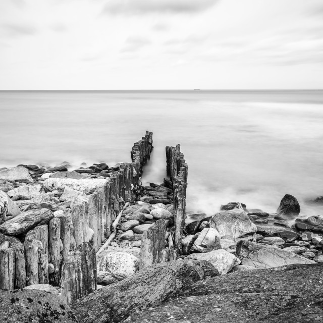 """""""Lynmouth Sea defences."""" stock image"""