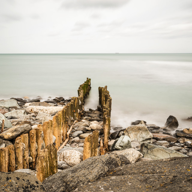 """Lynmouth Sea defences."" stock image"
