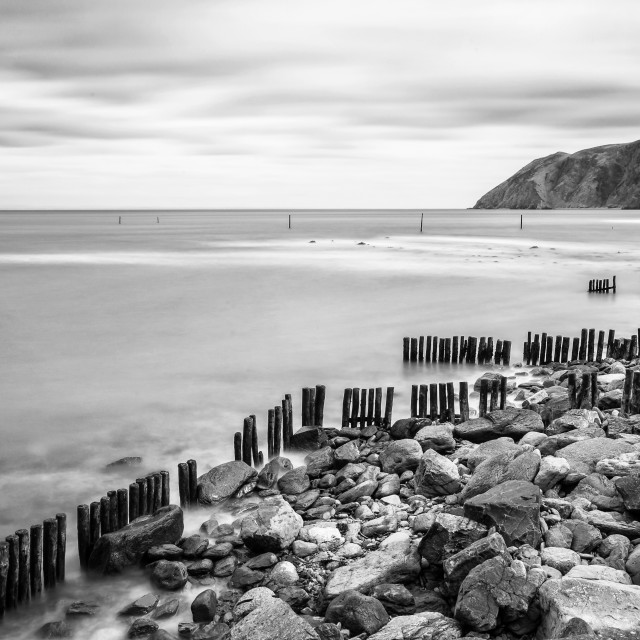 """Sea Defences at Lynmouth Devon. Monochrome."" stock image"