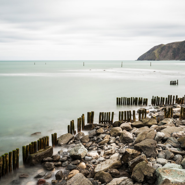 """Sea Defences at Lynmouth Devon."" stock image"