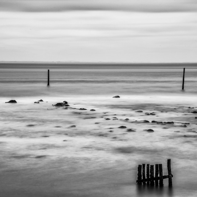 """""""Wooden posts in the sea. Monochrome."""" stock image"""