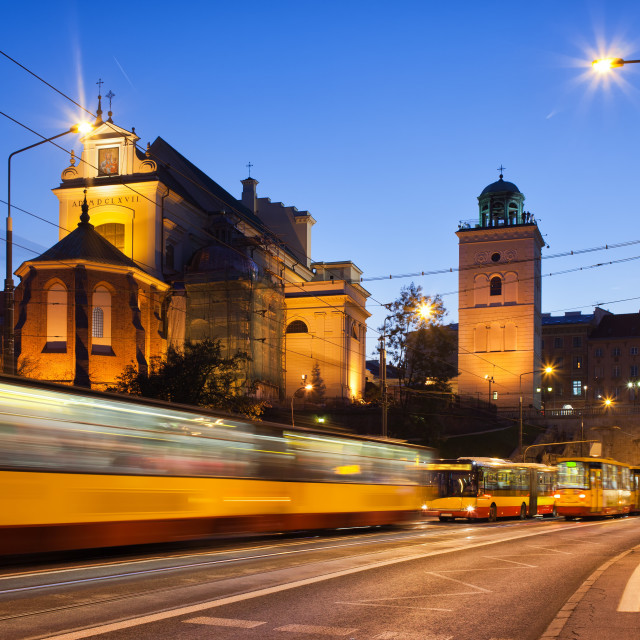 """""""Traffic on the Solidarity Avenue in Warsaw"""" stock image"""