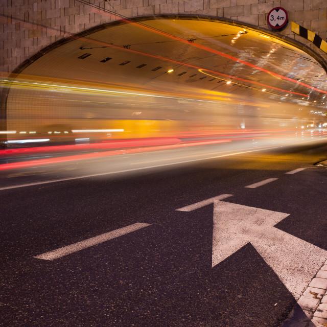 """Night Traffic Light Trails in Warsaw"" stock image"