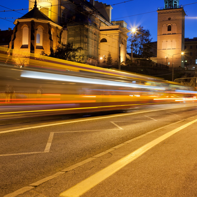 """""""Night Traffic on the Solidarity Avenue in Warsaw"""" stock image"""