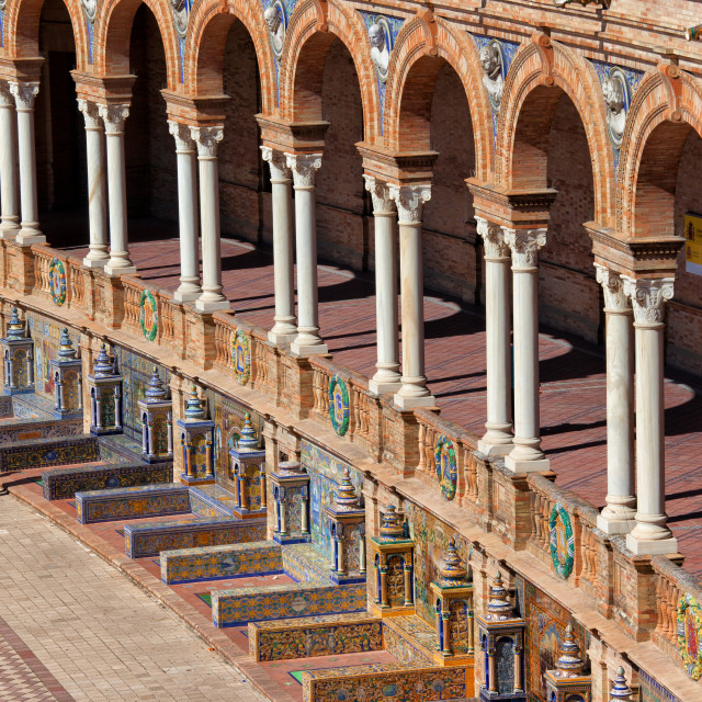"""Plaza de Espana Colonnade in Seville"" stock image"