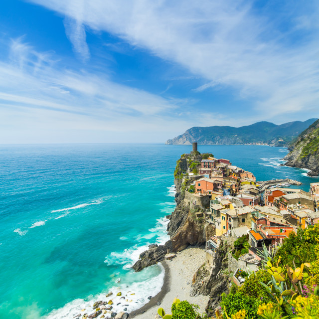 """Old town on the rocks Liguria Italy"" stock image"