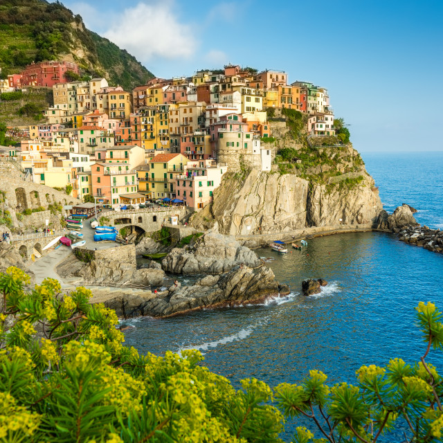 """Town on the rocks Cinque Terre Liguria Italy"" stock image"