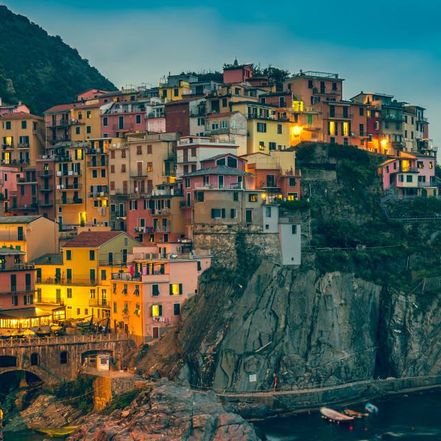 """Town on the rocks at night Liguria Italy"" stock image"