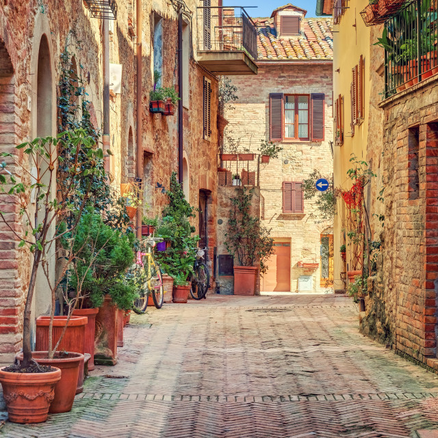 """Alley in old town Tuscany Italy"" stock image"
