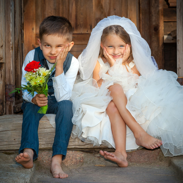 """""""Kids Love Couple After the Wedding"""" stock image"""