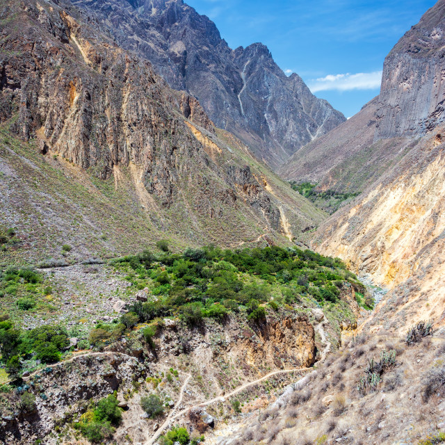"""Colca Canyon Bridge"" stock image"
