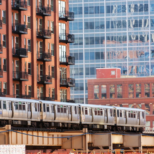 """""""Chicago Elevated Train"""" stock image"""