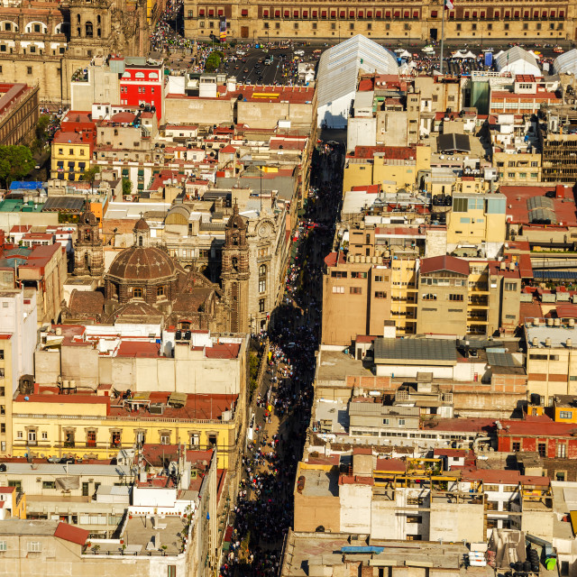 """""""Mexico City Cathedral and Zocalo"""" stock image"""