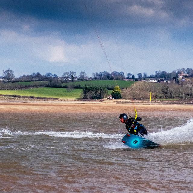 """Kite Surfing on Exe Estuary."" stock image"