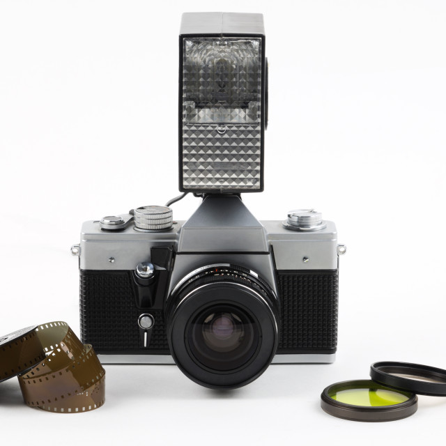"""""""Old camera with flash"""" stock image"""
