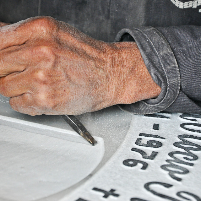 """""""Tombstone Engraver at Work"""" stock image"""