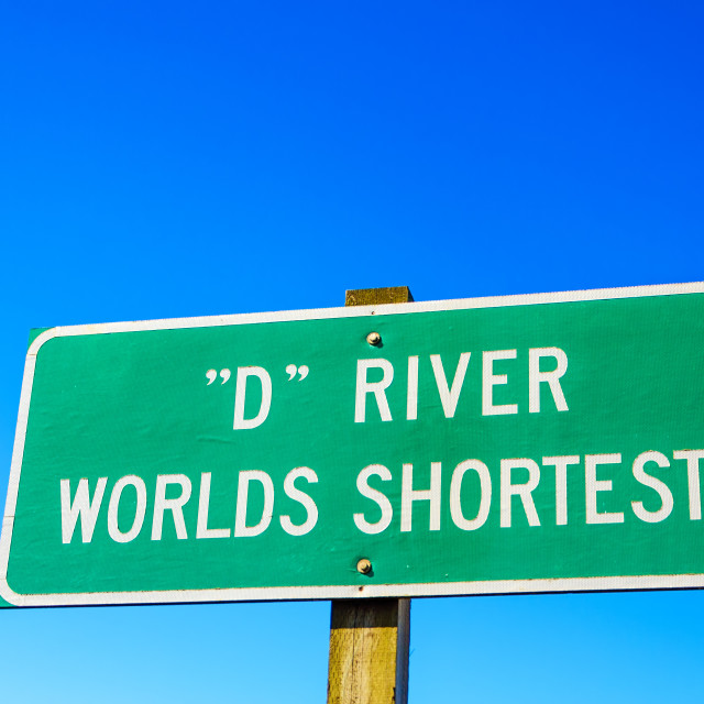 """Sign for World's Shortest River"" stock image"