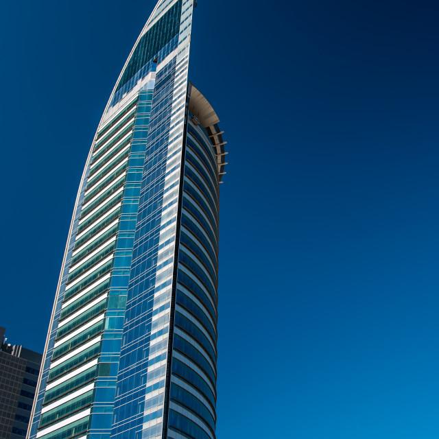 """""""Blue Skyscraper in Uruguay"""" stock image"""