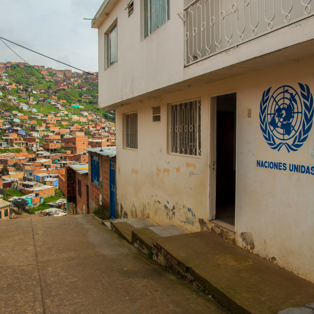 """United Nations in a Slum"" stock image"
