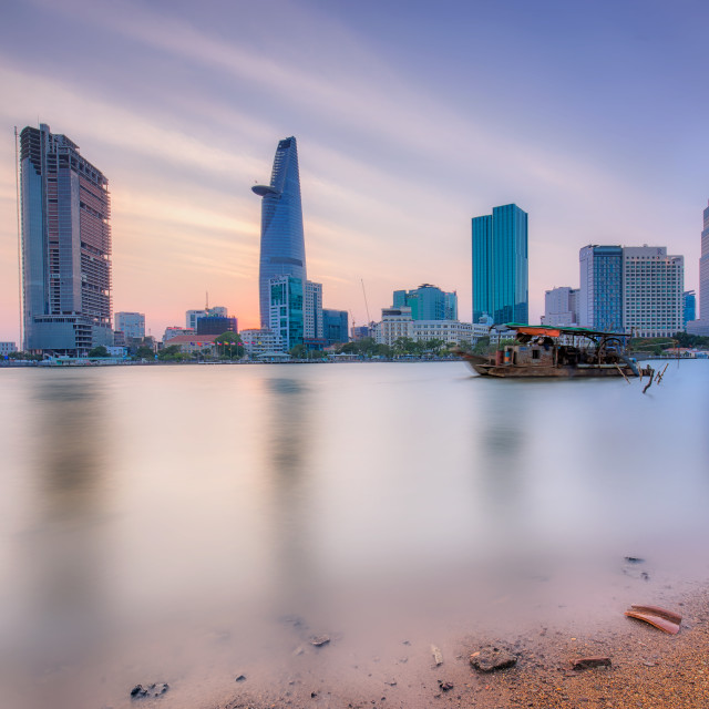 """Sunset at Ho Chi Minh city ( Sai Gon )"" stock image"