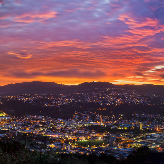 """The unreal view of Dusk over Wellington City"" stock image"