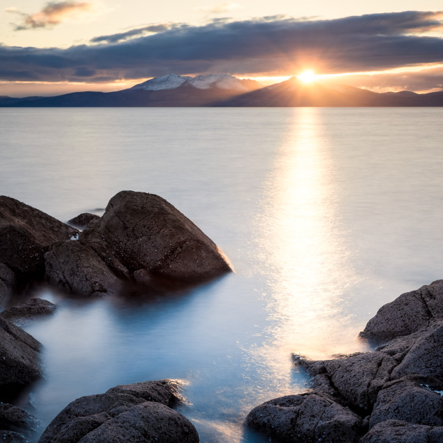 """Sunburst Over Arran"" stock image"