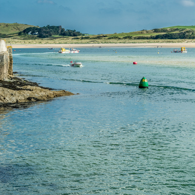 """""""Boats arrive at Padstow"""" stock image"""