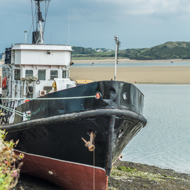 """""""Beached ship at Padstow"""" stock image"""