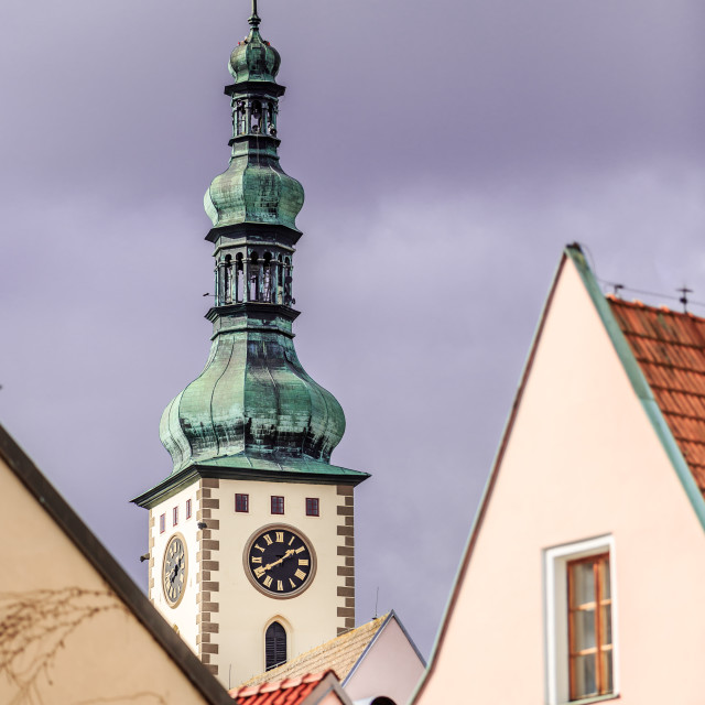 """Church tower in Tábor, Czech Republic"" stock image"