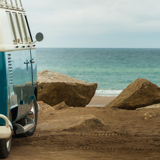 """VW Camper sea view"" stock image"