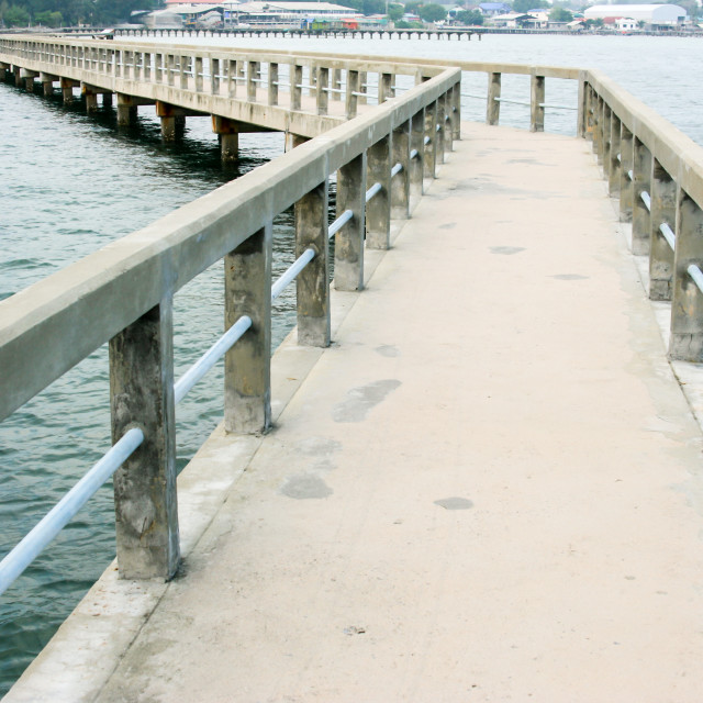 """Concrete bridge in the sea : Chonburi Thailand"" stock image"