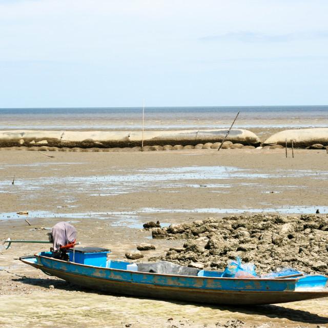 """small boats on a summer sea coast"" stock image"