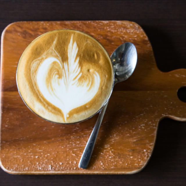 """""""cup of coffee on table in cafe"""" stock image"""