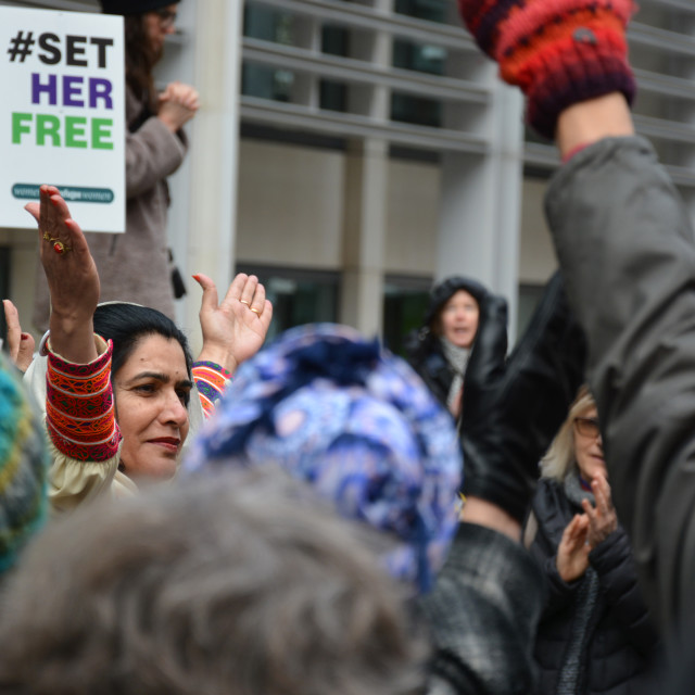 """Set Her Free on International Women's Day Demo (Home Office, London)"" stock image"