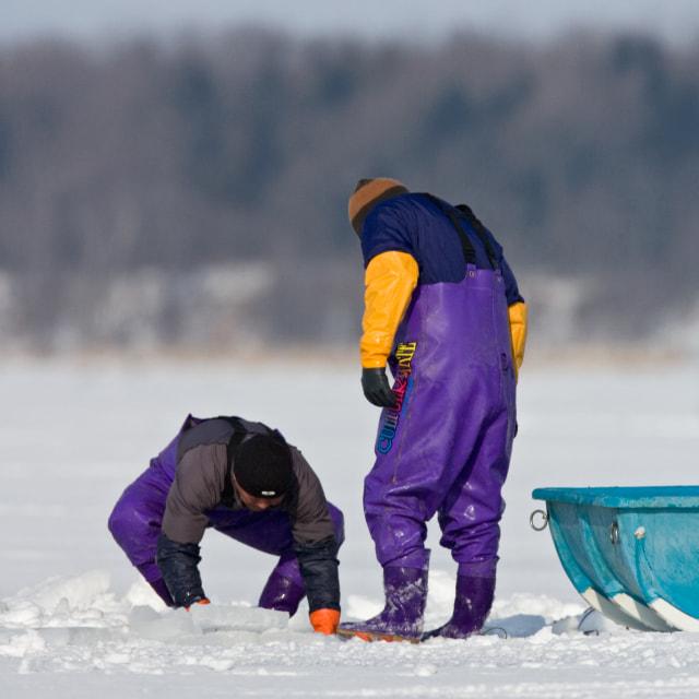 """IJsvissers, Ice fishing"" stock image"